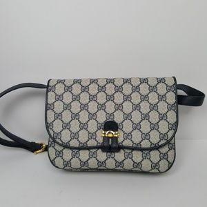 Gucci Navy and Tan Cross Body Purse
